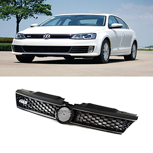 VioletLisa 1pc Black Strong ABS Plastic Honeycomb Mesh Style Front Main Upper Grille With GLI Emblem & Chrome Trim Fit 11-14 Volkswagen Jetta MK6 4-Door Sedan (Honeycomb Main Grille)