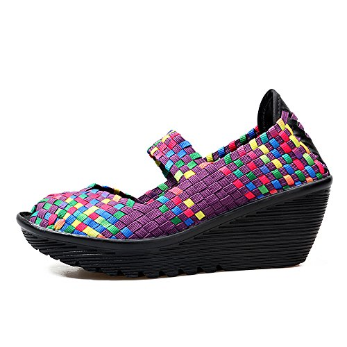 Toe Purple Wedges Mary Women Woven Shoes Sandals Comfort Enllerviid Open 667 Summer Jane Peep Platform vxwU6cqI0