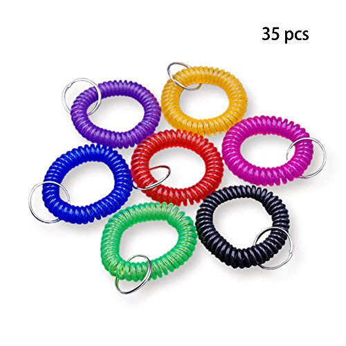 Stretchable Plastic Bracelet Wrist Coil Wrist Band Key Ring Chain Holder Tag, 35 Assorted Color Mixed