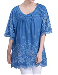 ZANLICE Women's Embroidery Hollow Out Mesh Linen Tunic Tops For M L XL