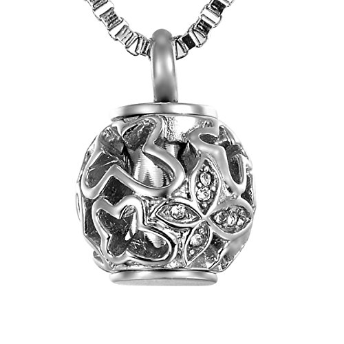 Valyria Cremation Jewelry Urn Pendant Necklace with Hollow Diamond Butterfly Beads 'Always in my heart',Silver Tone (Small Pendant Butterfly)