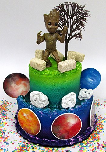 Guardians of the Galaxy BABY GROOT Birthday Cake Topper Set Featuring Groot Figure and Decorative Themed Accessories