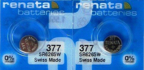 2 Renata 377 SR626SW Silver Oxide Zero Mercury Electronic Batteries (Watch 377 Battery Renata)