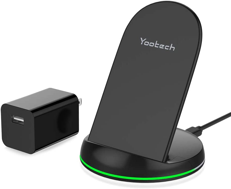 Yootech Wireless Charger, Qi-Certified 10W Max Wireless Charging Stand with QC3.0 AC Adapter, Compatible with iPhone SE 2020/11/11 Pro/11 Pro Max/XS/XR/XS MAX/X, Galaxy S20/Note 10/Note 10 Plus/S10/S9