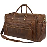 Genuine Leather Large Berchirly Business Outdoor Travel Duffel For Men Dark Brown