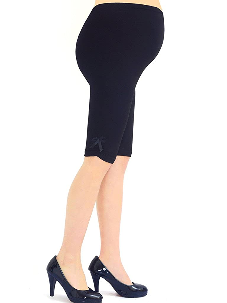 Liang Rou Maternity Over Belly Stretch Short Leggings With Bow-tie Black Baifu International Limited ML8852