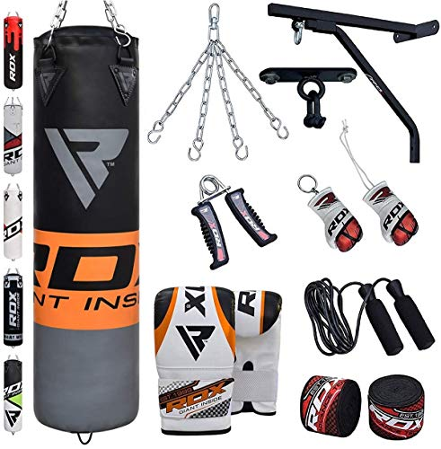 (RDX Punching Bag Filled Wall Bracket Boxing Training MMA Heavy Punch Gloves Chain Ceiling Hook Muay Thai Kickboxing 14PC Martial Arts 4FT 5FT Set)