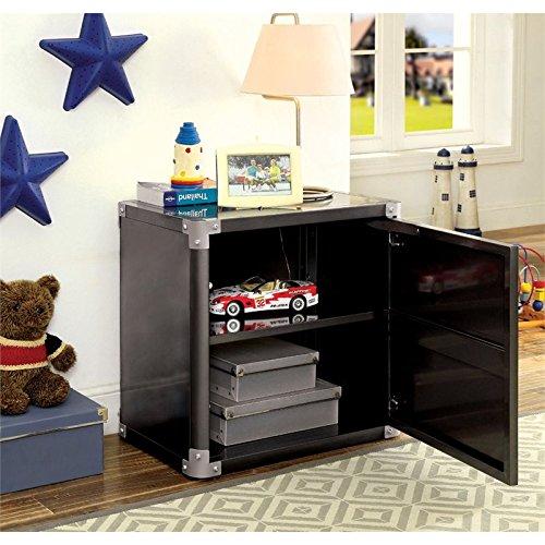 Furniture of America Parham Metal Nightstand in Black