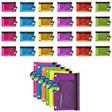 Bazic 3-Ring Pencil Pouch with Mesh Window Bright Colors (Pack of 24) (804-24)
