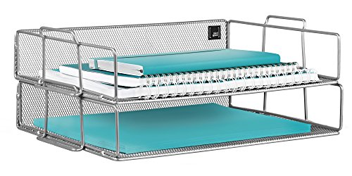 Collection Tray (Mindspace 2 Tier Stackable Letter Tray Desk Organizer | The Mesh Collection, Silver)