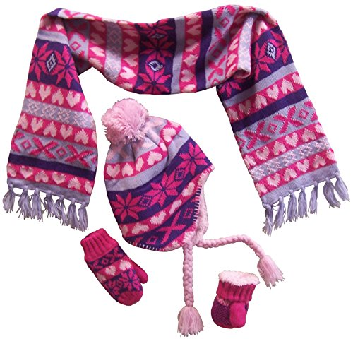 N'Ice Caps Little Girls and Infants Sherpa Lined Snowflake Knitted Set (4-7 Years, pink/purple/fuchsia/lt purple print)