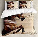 Horses Duvet Cover Set King Size by Ambesonne, Chestnut Color Horse Jumping in Hackamore Life Force Power Honor Love Sign Print, Decorative 3 Piece Bedding Set with 2 Pillow Shams, Brown Cream