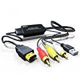 Jmday HDMI to Composite AV 3 RCA CVBS Video Audio Converter Adapter Cable 720p 1080p Upscaler with USB Charge Cable for TV PC PS4 DVD VHS VCR Camera