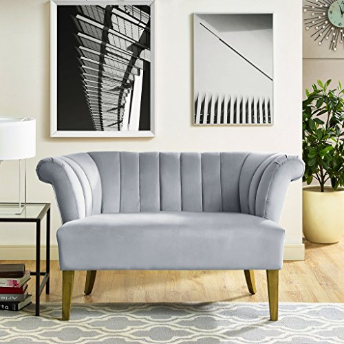 TOV Furniture Grey Iris Velvet Settee
