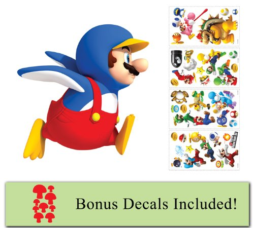 Price comparison product image Nintendo Pengiun Mario Giant Decal Mario Wii Decals Plus Mini Mushroom Accents