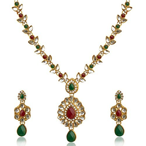 Dancing Girl Women's Traditional India Dazzling Stone Polki Necklace Set (Traditional Dance Costumes Of India)