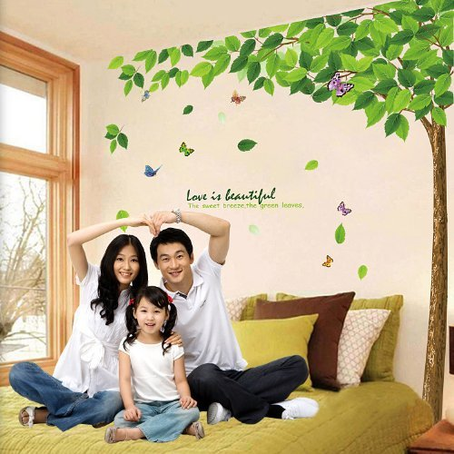 1 X BestGrewî Green Tree Garden Series Large Tree and Butterflies Wall Decals, Living Room Bedroom Removable Wall Stickers Murals by SMJAITD by Superassure