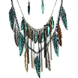 Western Peak Bohemian Tritone Tassels Metal Feathers Necklace with Earrings (Patina)