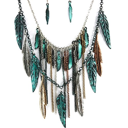 Western Peak Bohemian Tritone Tassels Metal Feathers Necklace with Earrings (Patina) by Western Peak