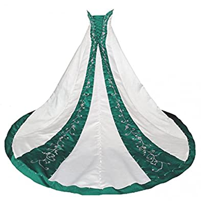 Chapel Green Embroidered Satin Wedding Dresses for Bride Gowns Ball
