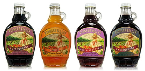 - Pioneer Valley Gourmet Fancy Syrup Most Loved Flavors Gift Set of 4(11.5oz) Including Boysenberry, Apricot, Red Raspberry, Marionberry