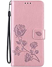 Miagon Wallet Case for Samsung Galaxy S21 Ultra,PU Leather Magnetic Rose Flower Pattern Flip Protective Cover with Kickstand Card Holder Function,Rose Gold