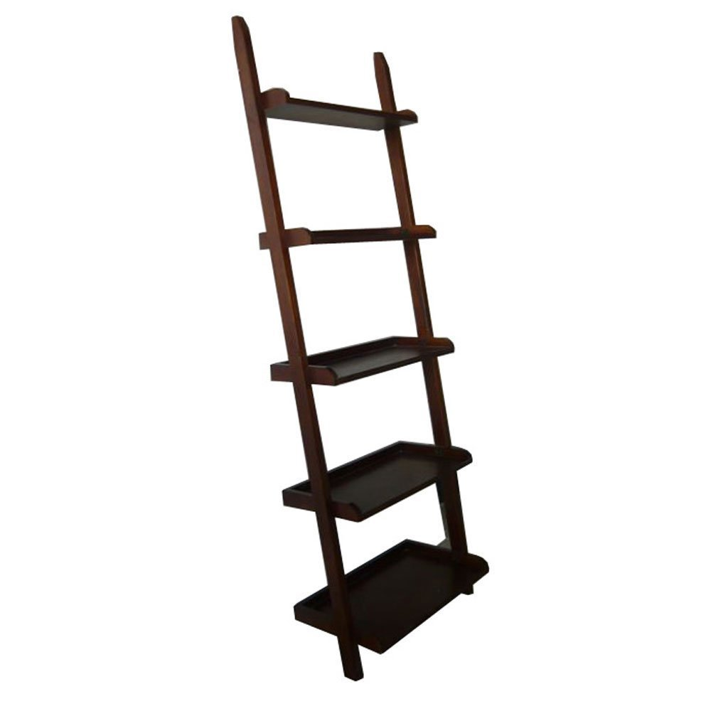 BTEXPERT Premium Wooden 5-Tier Leaning New Mission Ladder Style Wall Corner Slant Magazine Book Shelf Bookcase with Storage Shelves Cappuccino Finish