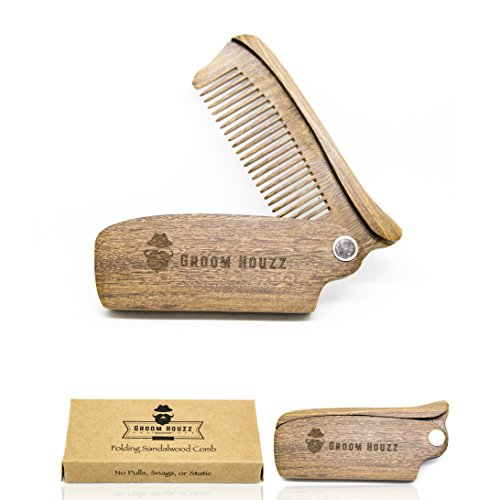 Folding Sandalwood Comb by Groom Houzz – Anti-Static Styling Comb for Men – Perfect Beard Shaper