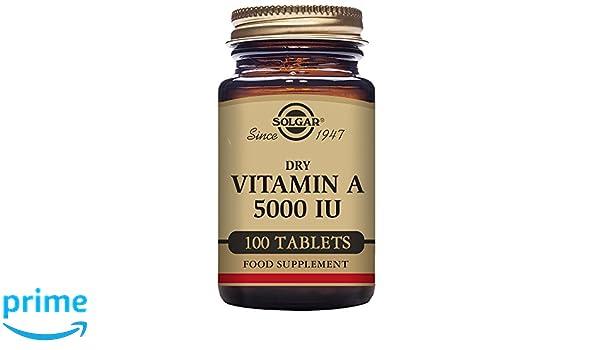 Solgar Vitamina A Seca 5000 UI Comprimidos - Envase de 100: Amazon.es: Salud y cuidado personal
