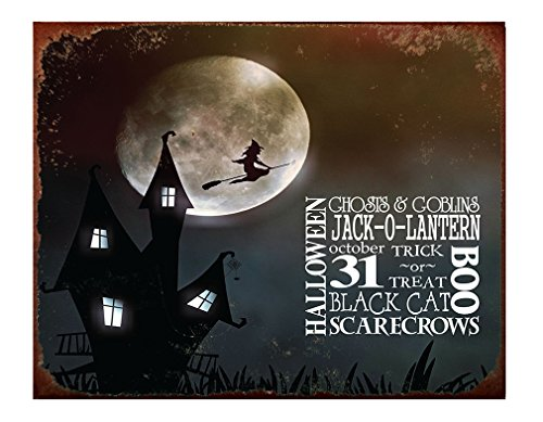 Halloween Ghosts & Goblins Jack-O-Lantern October 31 Trick Or Treat Black Cat Scarecrows Boo with Moon in Night Metal Sign Rusty Frame - 18