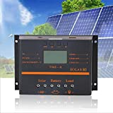 DSstyles 80A PWM 12V 24V LCD Solar Energy Powered Controller Photovoltaic Solar Panel Charging Discharging Controller