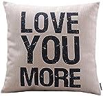 Decorbox Cotton Linen Decorative Pillowcase Throw Pillow Cushion Cover Love You