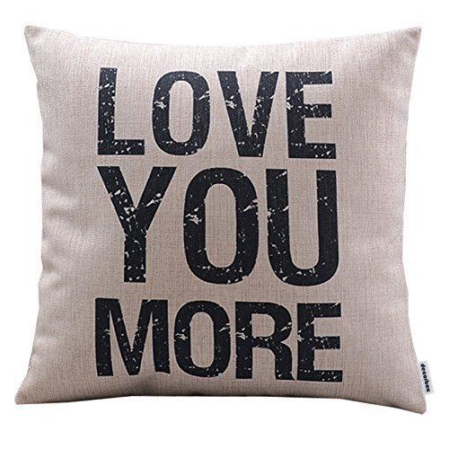 Decorbox Cotton Linen Decorative Pillowcase Throw Pillow Cushion Cover Love You More Square 18