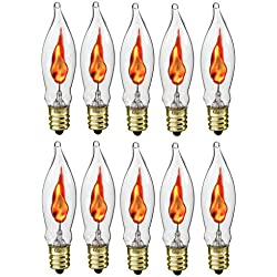 Creative Hobbies A101 Flicker Flame Light Bulb -3 Watt, 130 volt, E12 Candelabra Base, Flame Shaped, Nickel Plated Base,- Dances with a Flickering Orange Glow -Wholesale Box of 10 Bulbs