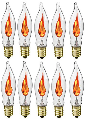 (Creative Hobbies A101 Flicker Flame Light Bulb -3 Watt, 130 Volt, E12 Candelabra Base, Flame Shaped, Nickel Plated Base,- Dances with a Flickering Orange Glow -Wholesale Box of 10)