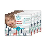 Honest Baby Diapers, Multi Colored Giraffes, Size 4, 116 Count