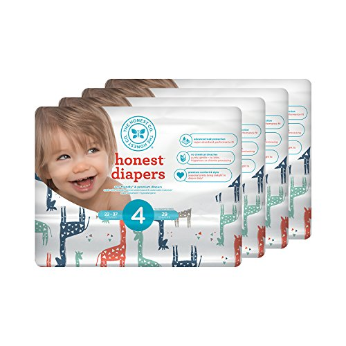 Honest Baby Diapers, Multi Colored Giraffes, Size 4 (116 Count)