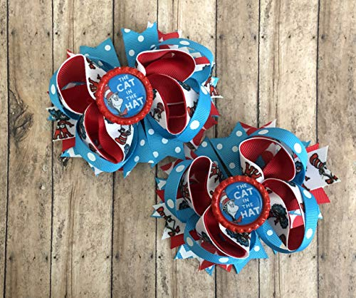 Dr Seuss Inspired Cat In The Hat Hair Bow (2) by Inspired Bows -