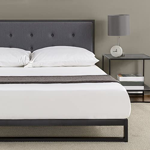 Zinus Trisha 7 Inch Low Profile Platforma Bed Frame Mattress Foundation with Tufted Headboard Box Spring Optional Wood Slat Support, Queen