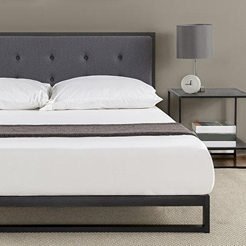 Zinus Trisha 7 Inch Low Profile Platforma Bed Frame Mattress Foundation With Tufted Headboard Box Spring Optional Wood Slat Support King