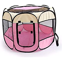 Folding Pet Carrier Tent Playpen Dog Cat Fence Cage Puppy Kennel Large Space Foldable Exercise Play Indoor Outdoor Two Sizes,Beige Pink,72-72-45