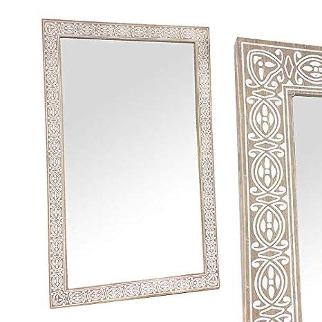 Espejo Pared Decorado Madera 60x45 cm 14140SG Art Deco Home