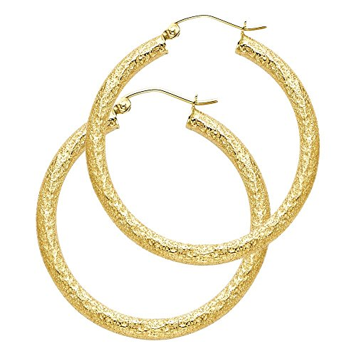 14k Yellow Gold Sandblast Finish Hoop Earrings ()