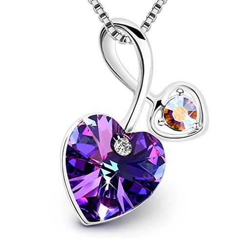 PLATO H Heart Pendant Necklace Heart of Ocean Romantic Pendant Necklace with Swarovski Crystal Women Jewelry Bithday Stone Gift for Her, Classic Purple,18