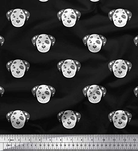Soimoi Black Velvet Fabric Dalmatian Face Dog Print Fabric by The Yard 58 Inch Wide ()