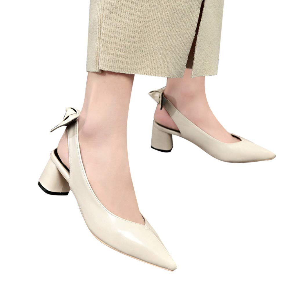 High Heeled Sandals for Ladies,FAPIZI Women Pointed High Heel Sandals Leather Short Boots Single Shoes