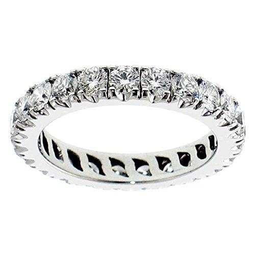 VIP Jewelry Art 2.00 CT TW Round Diamond Eternity Anniversary Wedding Band in 18k White Gold - Size 4.5 (Band Diamond 2ct Tw Eternity)