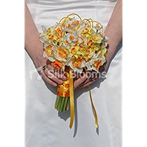Yellow & Orange Daffodil White Narcissus Bridesmaid Posy Bouquet 33