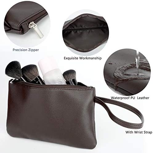 Small Makeup Bag for Purse Travel Makeup Pouch Waterproof PU Leather Cosmetic Bag with Handlehe&Zipper for Women Girls(8.07x5.03 Inches)Brown