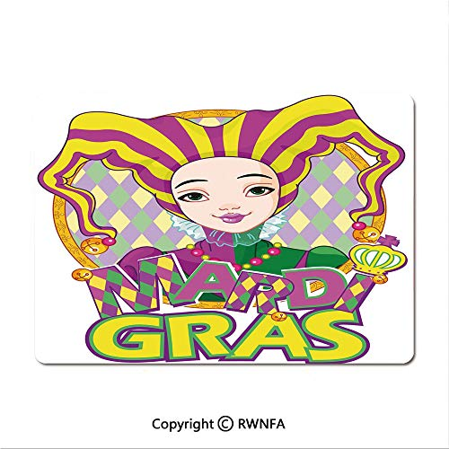 Non-Slip Rubber Base Mouse pad Carnival Girl in Harlequin Costume and Hat Cartoon Fat Tuesday Theme(9.8